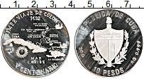 Изображение Монеты Куба 10 песо 1990 Серебро Proof Острова Карибского б