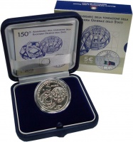 Изображение Подарочные монеты Италия 5 евро 2019 Серебро UNC 150 лет валютной уни