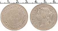 Изображение Монеты Стрейтс-Сеттльмент 50 центов 1896 Серебро XF- Виктория