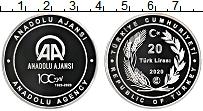 Изображение Мелочь Турция 20 лир 2020 Серебро Proof 100 лет Агентству Ан