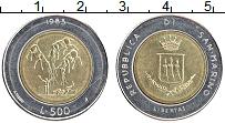 Изображение Монеты Сан-Марино 500 лир 1983 Биметалл UNC-