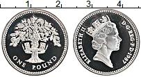 Изображение Монеты Великобритания 1 фунт 1987 Серебро Proof- Елизавета II. Дуб