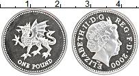 Изображение Монеты Великобритания 1 фунт 2000 Серебро Proof- Дракон Уэльса.Елизав