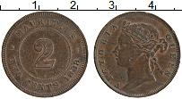 Изображение Монеты Маврикий 2 цента 1888 Медь XF Виктория