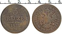 Изображение Монеты Австрия 3 крейцера 1851 Медь XF