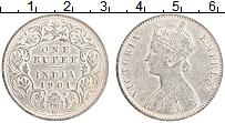 Изображение Монеты Британская Индия 1 рупия 1901 Серебро VF