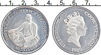 Изображение Монеты Острова Кука 50 долларов 1989 Серебро Proof- 500 лет открытия Аме