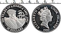 Изображение Монеты Острова Кука 50 долларов 1990 Серебро Proof 500 лет открытия Аме