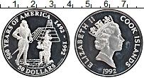 Изображение Монеты Острова Кука 50 долларов 1992 Серебро Proof 500 лет открытия Аме