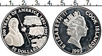 Изображение Монеты Острова Кука 50 долларов 1993 Серебро Proof 500 лет открытия Аме