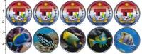 Изображение Наборы монет Малайзия Набор 2020 г. Тропические рыбы 2020 Медно-никель UNC Федеральная территоп