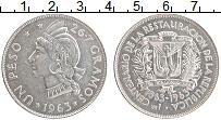 Изображение Монеты Доминиканская республика 1 песо 1963 Серебро UNC- 100-летие восстановл