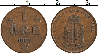 Изображение Монеты Швеция 1 эре 1901 Бронза XF Оскар I