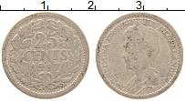 Изображение Монеты Нидерланды 25 центов 1917 Серебро XF Вильгельмина