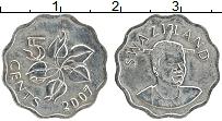 Изображение Монеты Свазиленд 5 центов 2007 Медно-никель UNC- Мсвати III.