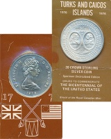Изображение Подарочные монеты Теркc и Кайкос 20 крон 1976 Серебро UNC