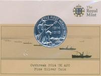 Изображение Подарочные монеты Великобритания 20 фунтов 2014 Серебро BUNC