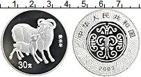 Изображение Монеты Китай Монетовидный жетон 2003 Посеребрение Proof Год Овцы