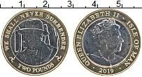 Изображение Монеты Остров Мэн 2 фунта 2019 Биметалл UNC Елизавета II. 75 лет