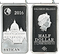 Изображение Монеты Соломоновы острова 1/2 доллара 2016 Серебро Proof Ватикан