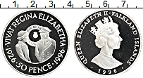 Изображение Монеты Фолклендские острова 50 пенсов 1996 Серебро Proof 70 лет королеве Елиз