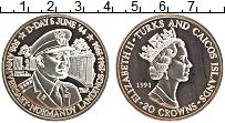 Изображение Монеты Теркc и Кайкос 20 крон 1994 Серебро Proof- Елизавета II. 50 лет