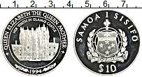 Изображение Монеты Самоа 10 долларов 1994 Серебро Proof Замок королевы Елиза