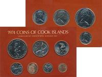 Изображение Подарочные монеты Острова Кука Выпуск 1974 года 1974  UNC Выпуск монет 1974 го