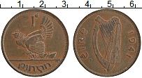 Изображение Монеты Ирландия 1 пенни 1941 Бронза XF Курица с цыплятами