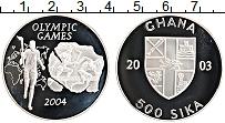 Изображение Монеты Гана 500 сика 2003 Серебро Proof XXVIII Летние олимпи