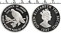 Изображение Монеты Остров Джерси 2 фунта 1987 Серебро Proof Елизавета II. 25-лет