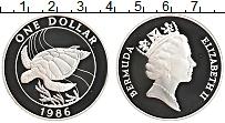 Изображение Монеты Бермудские острова 1 доллар 1986 Серебро Proof Елизавета II. Черепа