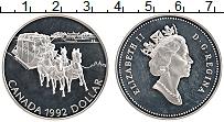 Изображение Монеты Канада 1 доллар 1992 Серебро Proof- Елизавета II. Дилижа