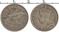 Изображение Монеты Новая Зеландия 6 пенсов 1934 Серебро XF Георг V