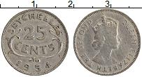 Изображение Монеты Сейшелы 25 центов 1954 Медно-никель XF Елизавета II
