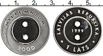Изображение Монеты Латвия 1 лат 1999 Серебро Proof Миллениум