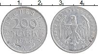 Изображение Монеты Веймарская республика 200 марок 1923 Алюминий XF A