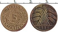Изображение Монеты Веймарская республика 5 пфеннигов 1924 Латунь XF А