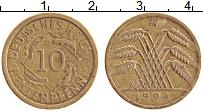 Изображение Монеты Веймарская республика 10 пфеннигов 1924 Латунь XF А