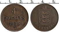 Изображение Монеты Гернси 4 дубля 1918 Бронза XF
