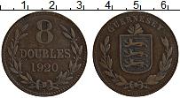 Изображение Монеты Гернси 8 дублей 1920 Бронза XF Герб