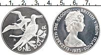 Изображение Монеты Виргинские острова 1 доллар 1973 Серебро Proof Елизавета II. Птицы