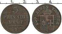 Изображение Монеты Вальдек-Пирмонт 3 пфеннига 1867 Медь XF В