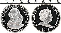 Изображение Монеты Острова Кука 1 доллар 2005 Серебро Proof Вильям Шекспир