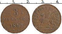 Продать Монеты Росток 3 пфеннига 1843 Медь