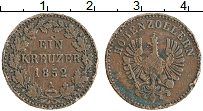 Продать Монеты Гогенцоллерн-Зигмаринген 1 крейцер 1852 Медь