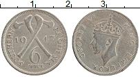 Изображение Монеты Родезия 6 пенсов 1947 Медно-никель XF Георг VI