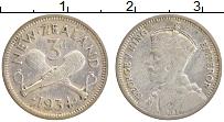 Изображение Монеты Новая Зеландия 3 пенса 1934 Серебро XF Георг V