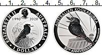 Изображение Монеты Австралия 1 доллар 2020 Серебро Proof 30 лет монетам с кук