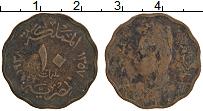 Изображение Монеты Египет 10 миллим 1938 Бронза VF Фарук I